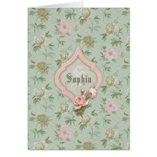 Personalized Girly Chic Green and Pink Floral Card