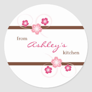 Personalized Girly Floral Canning Kitchen Stickers