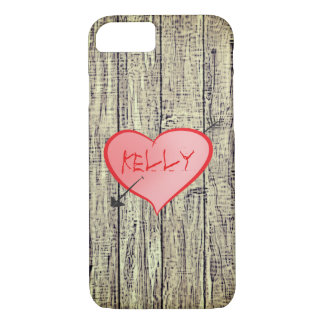 Personalized Girly Heart Cute Wood Fence Kelly iPhone 8/7 Case