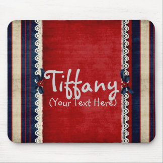Personalized Girly Lace in Red Mouse Pad