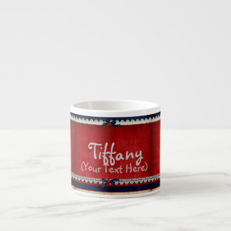 Personalized Girly Lace in Red 6 Oz Ceramic Espresso Cup