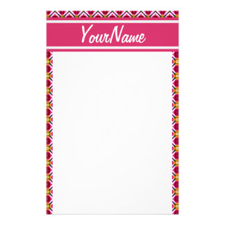 Personalized Girly Pink Red Floral Diamonds Patter Personalized Stationery