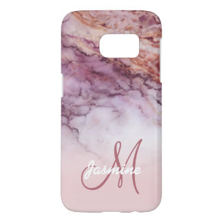Personalized Girly Rose Gold Marble Name Initial