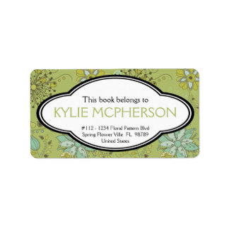 Personalized Girly Spring Green Floral Bookplate Address Label