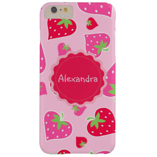 Personalized Girly strawberry hearts for lovers Barely There iPhone 6 Plus Case