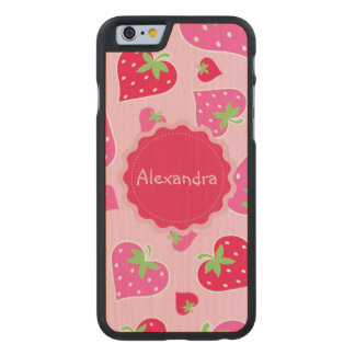 Personalized Girly strawberry hearts for lovers Carved® Maple iPhone 6 Slim Case