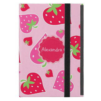 Personalized Girly strawberry hearts for lovers Cases For iPad Mini