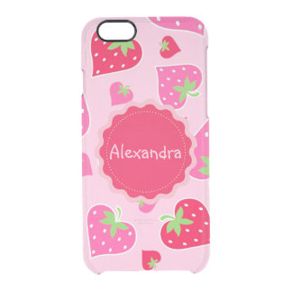 Personalized Girly strawberry hearts for lovers Clear iPhone 6/6S Case