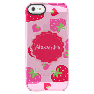 Personalized Girly strawberry hearts for lovers Clear iPhone SE/5/5s Case