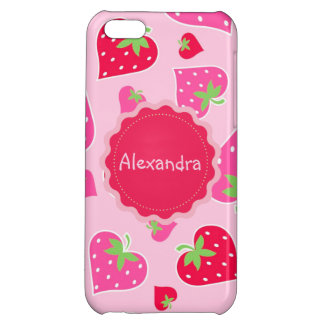 Personalized Girly strawberry hearts for lovers Cover For iPhone 5C