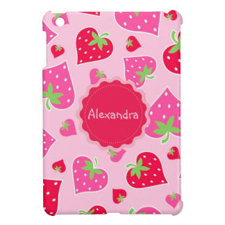 Personalized Girly strawberry hearts for lovers Cover For The iPad Mini