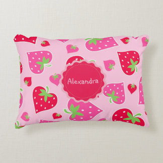 Personalized Girly strawberry hearts for lovers Decorative Cushion