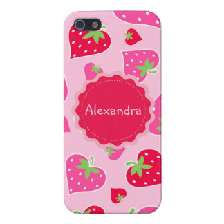 Personalized Girly strawberry hearts for lovers iPhone 5 Case
