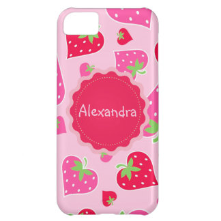 Personalized Girly strawberry hearts for lovers iPhone 5C Case