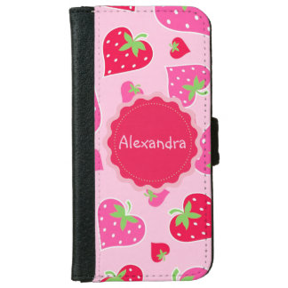 Personalized Girly strawberry hearts for lovers iPhone 6 Wallet Case