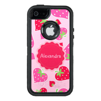 Personalized Girly strawberry hearts for lovers OtterBox iPhone 5/5s/SE Case