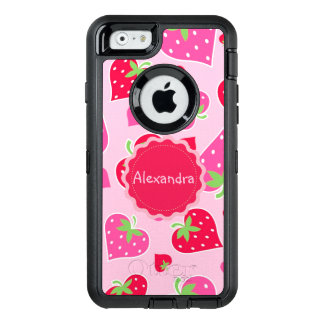 Personalized Girly strawberry hearts for lovers OtterBox iPhone 6/6s Case