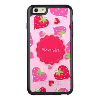 Personalized Girly strawberry hearts for lovers OtterBox iPhone 6/6s Plus Case