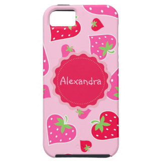 Personalized Girly strawberry hearts for lovers Tough iPhone 5 Case