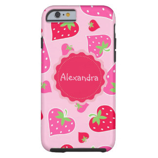Personalized Girly strawberry hearts for lovers Tough iPhone 6 Case