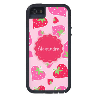 Personalized Girly strawberry hearts for lovers Tough Xtreme iPhone 5 Case
