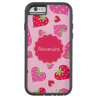 Personalized Girly strawberry hearts for lovers Tough Xtreme iPhone 6 Case