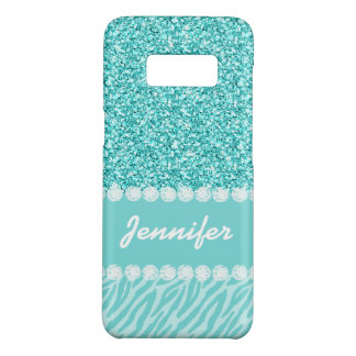 Personalized Girly Teal Glitter Zebra Stripes Name Case-Mate Samsung Galaxy S8 Case