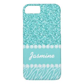 Personalized Girly Teal Glitter Zebra Stripes Name iPhone 8/7 Case