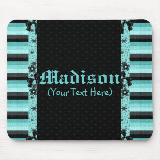 Personalized Girly Turquoise and Black Stripes Mouse Pad