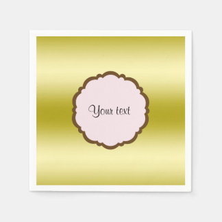 Personalized Glamorous Gold Disposable Serviettes