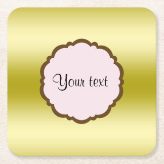 Personalized Glamorous Gold Square Paper Coaster