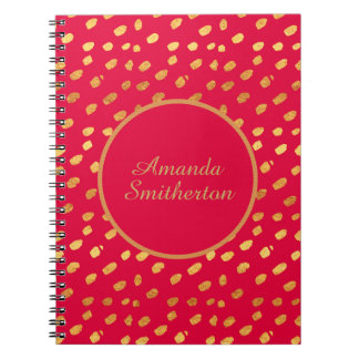 Personalized Glamorous Red Gold Monogram Notebooks