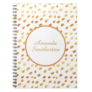 Personalized Glamorous White Gold Monogram Spiral Notebook