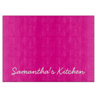 Personalized glass cutting board | Pink and white