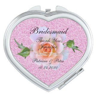Personalized Glitter Bridesmaid Floral Makeup Mirror