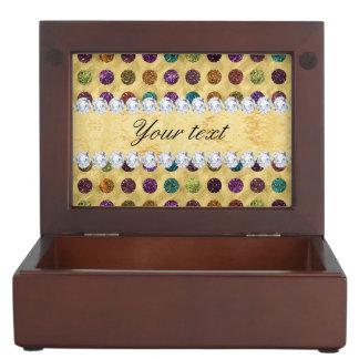 Personalized Glitter Polka Dots Diamonds Keepsake Box