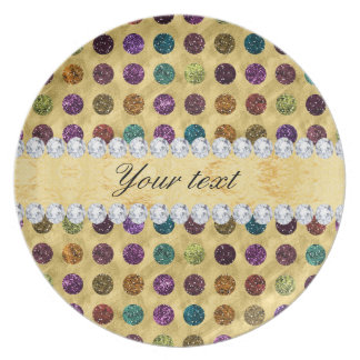 Personalized Glitter Polka Dots Diamonds Party Plates