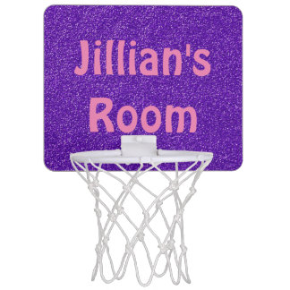 Personalized Glittery Purple Mini Basketball Goal Mini Basketball Hoop
