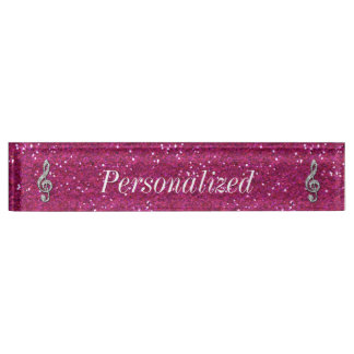 Personalized Glitzy Sparkly Diamond Music Note Nameplate
