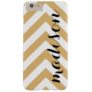 Personalized Gold and White Arrow Chevron Barely There iPhone 6 Plus Case