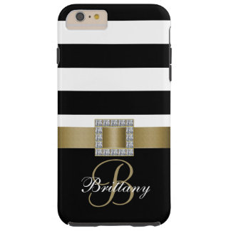 Personalized Gold, Black Bold Stripes Diamonds Tough iPhone 6 Plus Case
