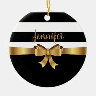 Personalized Gold, Black Bold Stripes ELEGANT BOW Ceramic Ornament