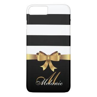 Personalized Gold, Black Bold Stripes Golden BOW iPhone 8 Plus/7 Plus Case