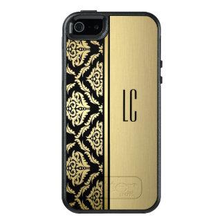 personalized gold black damask iphone case