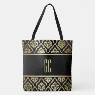 personalized gold black damask texture tote bag