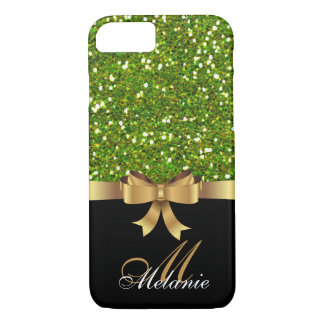 Personalized Gold, Black GREEN GLITTER  BOW iPhone 7 Case
