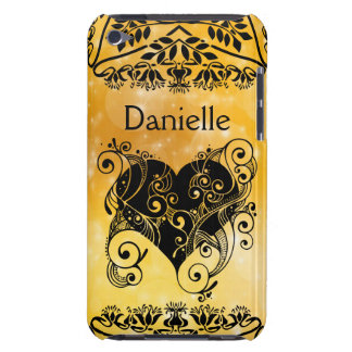 Personalized Gold & Black Tribal Heart Script iPod Touch Cases
