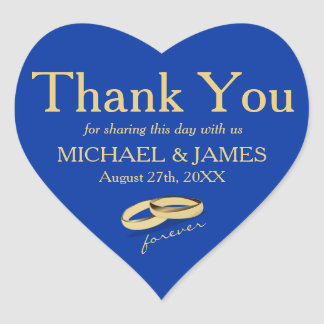 Personalized Gold & Blue Heart Wedding Sticker