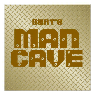 Personalized Gold Diamond Plate Man Cave Poster