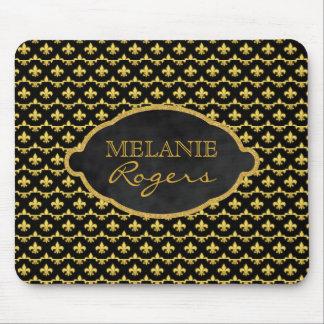 Personalized Gold Fleur de Lis | Monogrammed Name Mouse Pad
